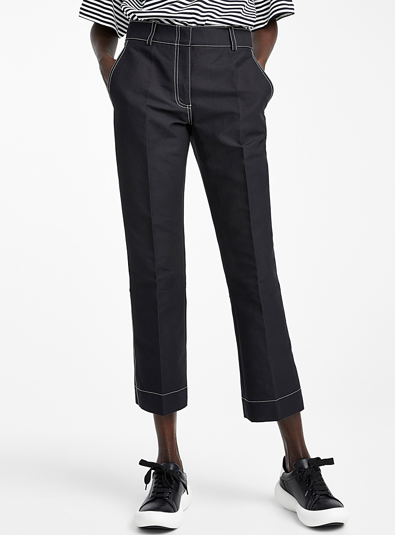 MARNI Black Topstitched black pant for women