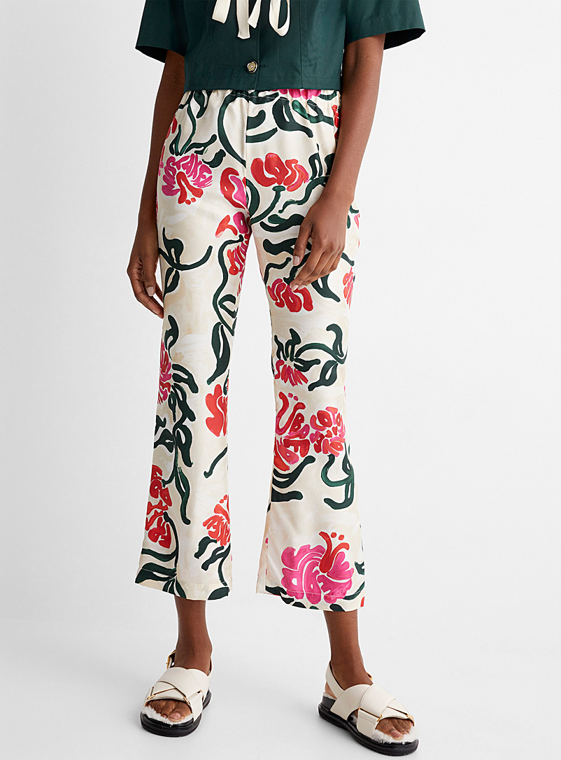MARNI Patterned Ecru Pure-silk tropical pant for women