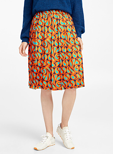 Turbolent print pleated skirt