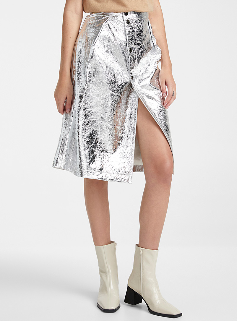 Metallic leather asymmetric skirt