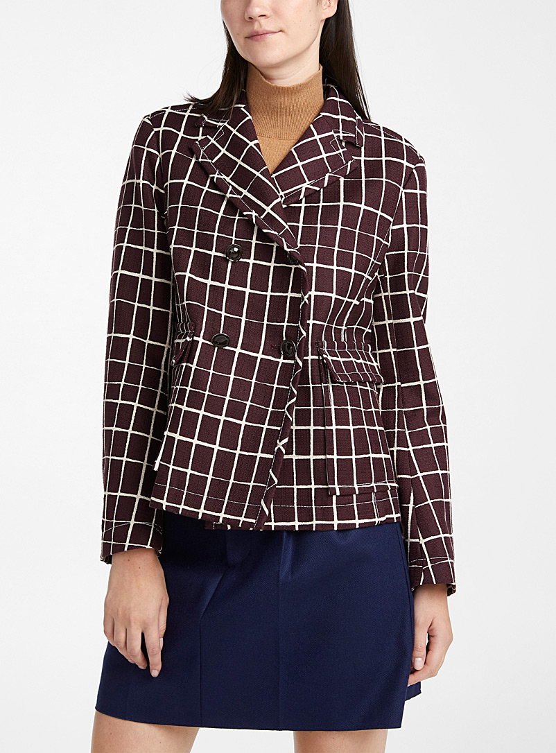 MARNI Ruby Red Double-breasted windowpane-check jacket for women