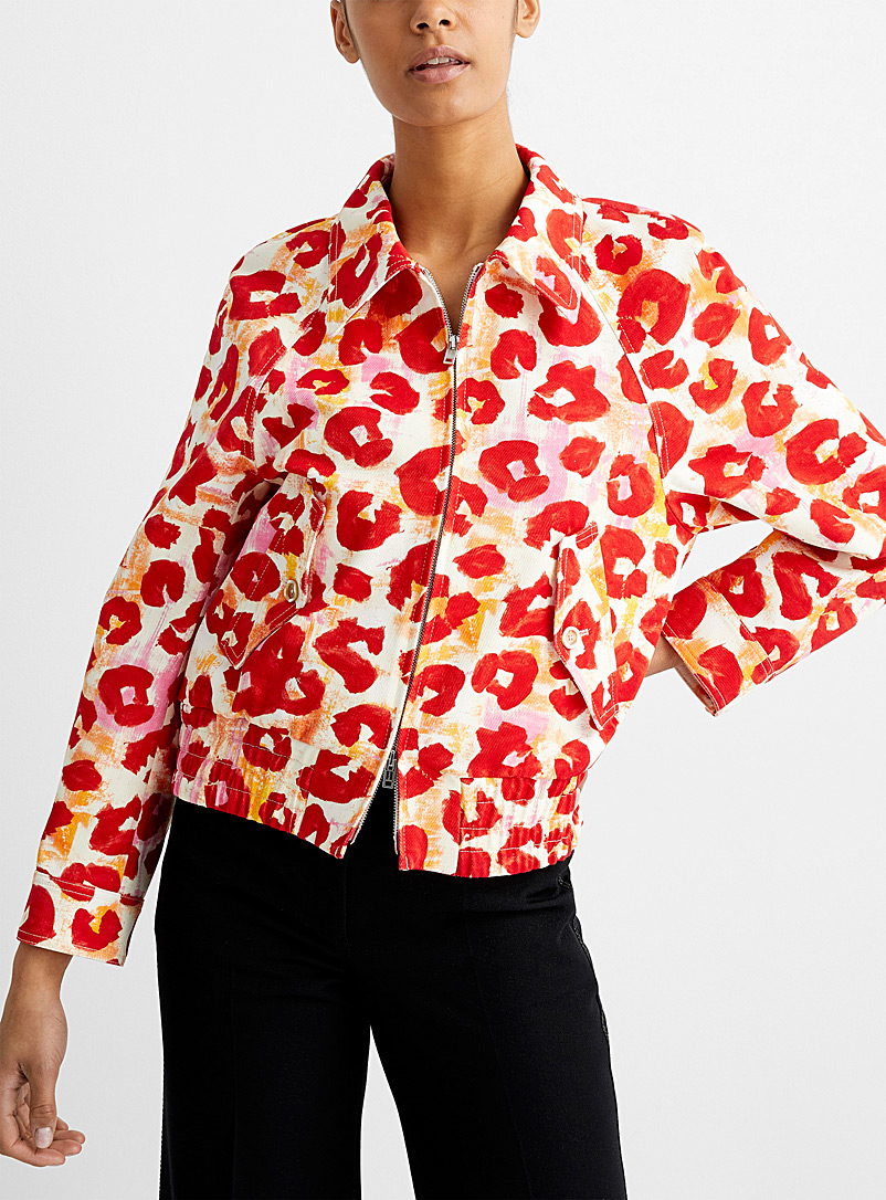 MARNI Patterned Red Painterly leopard jacket for women