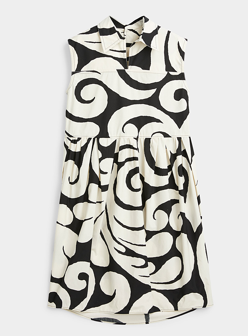 MARNI Patterned Black Printed poplin dress for women