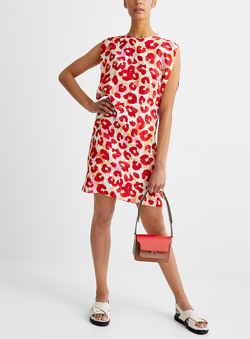 MARNI Patterned Red Painterly leopard sleeveless dress for women