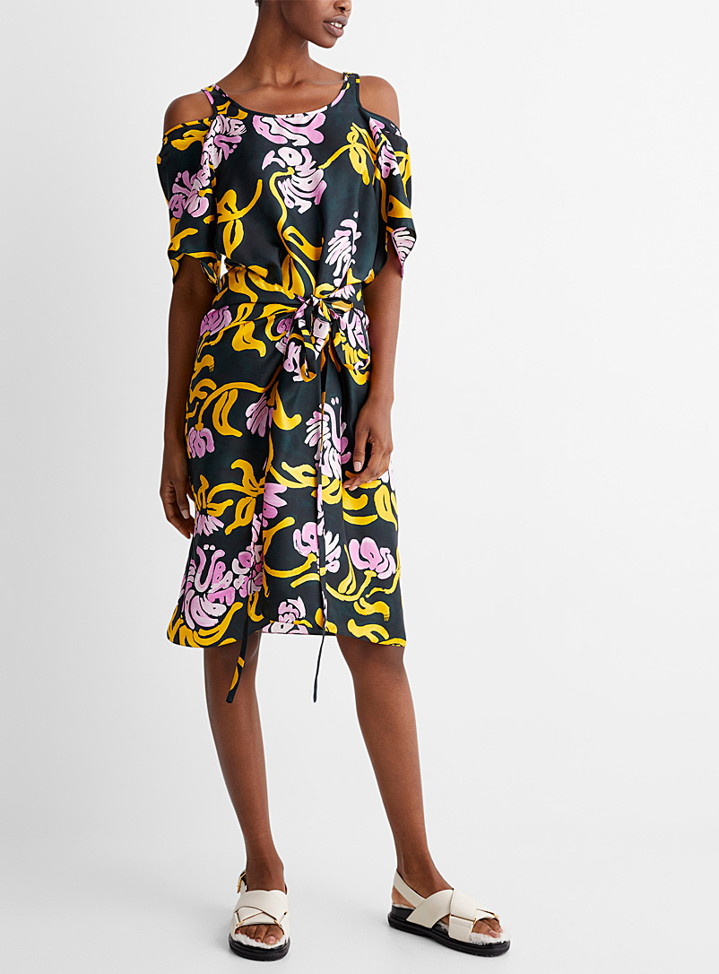 MARNI Patterned Grey Pure-silk tropical dress for women