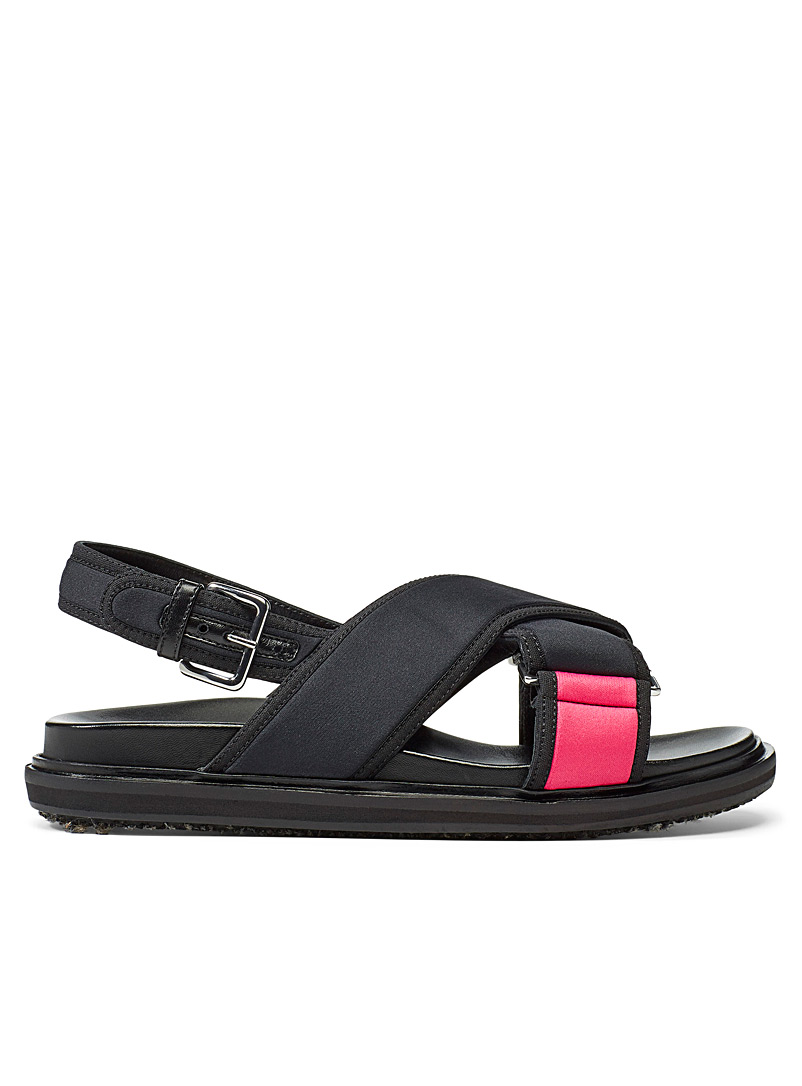 MARNI Black Fussbett crossed sandals for women