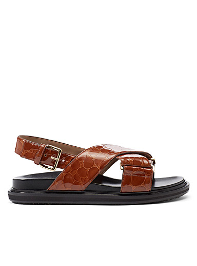 MARNI Copper Fussbett faux-croc sandals for women