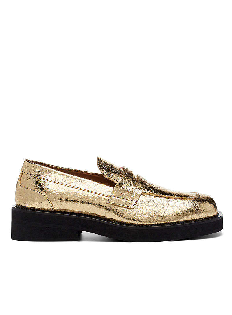 MARNI Golden Yellow Golden snake scale loafers for women