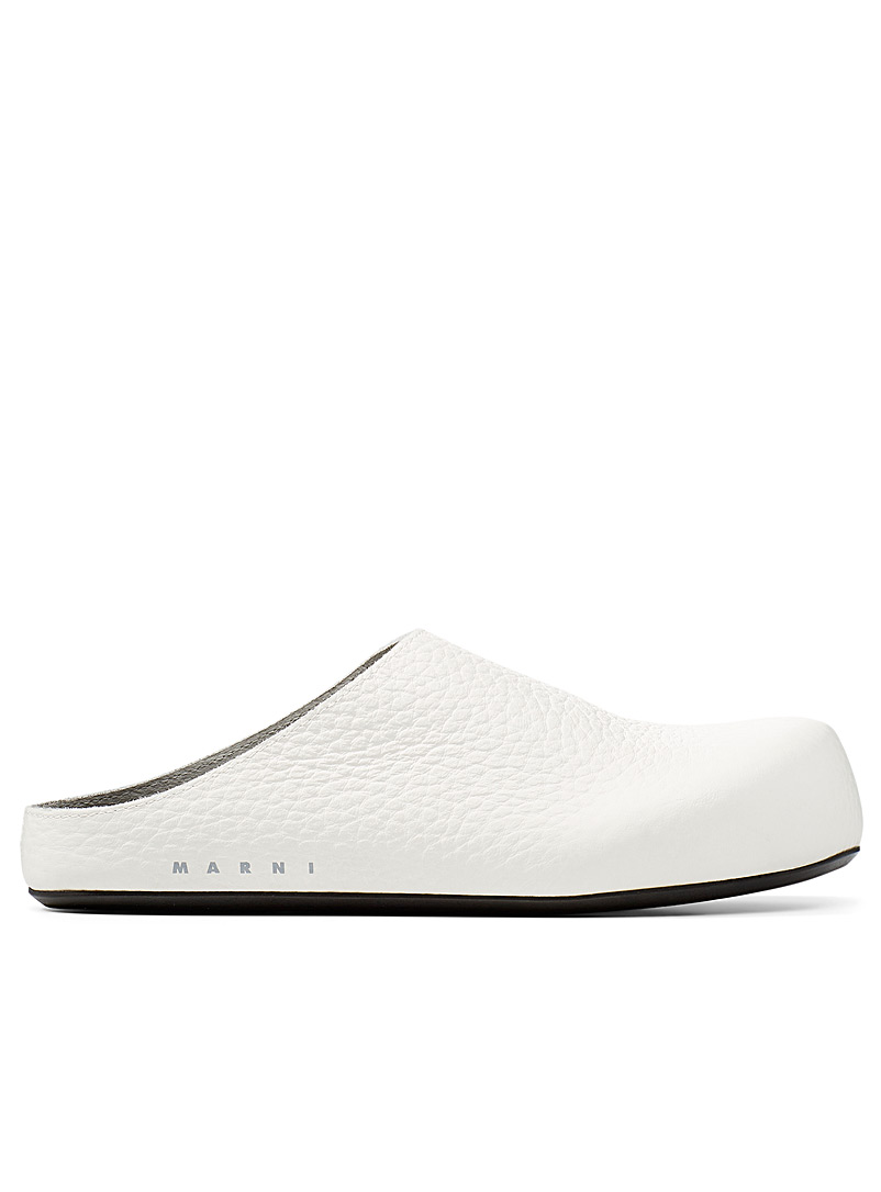 MARNI White Grained leather mule for women
