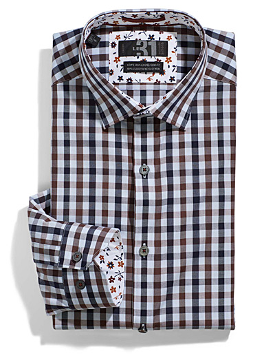 Chocolate check shirt  Semi-tailored fit