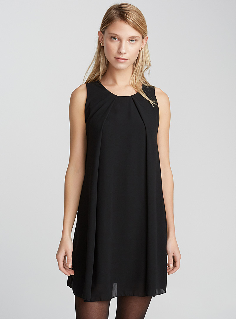 Twik Black Draped-pleat voile dress for women