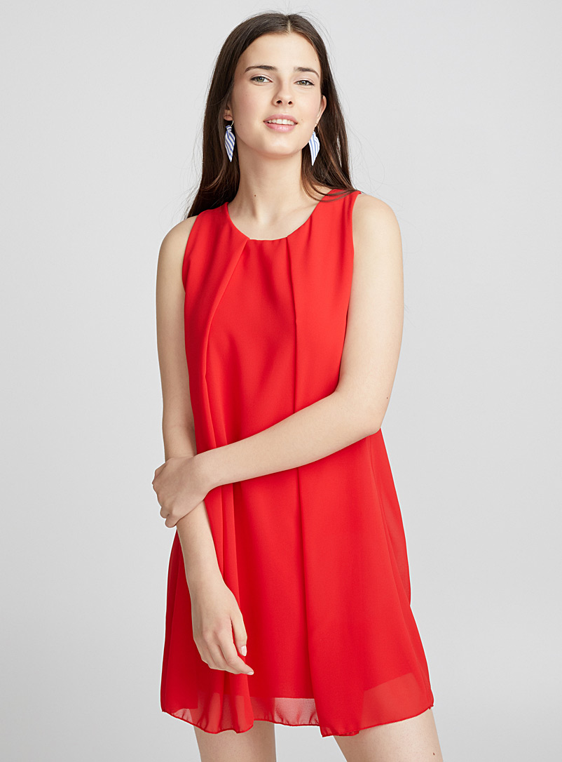 Draped-pleat voile dress - Fit & Flare - Red