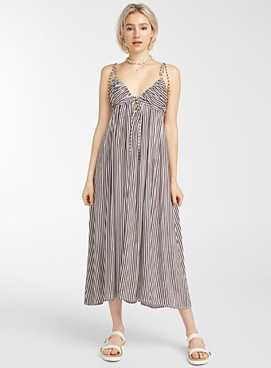 Amuse Society Patterned White Antique stripe maxi dress for women