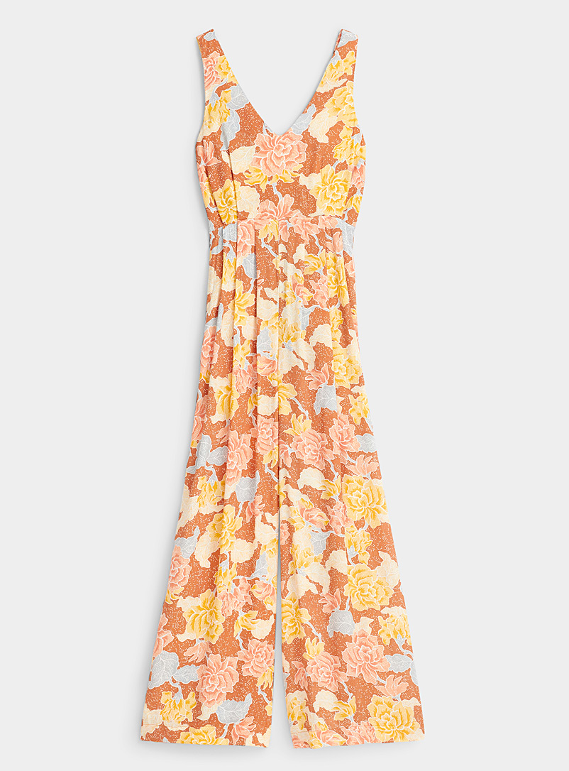 Amuse Society Patterned Brown Sunny roses jumpsuit for women