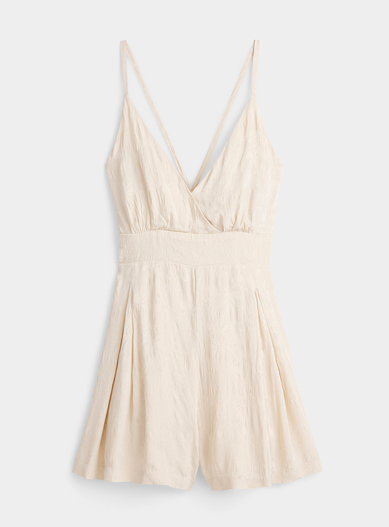 Amuse Society Ivory White Floral brocade romper for women