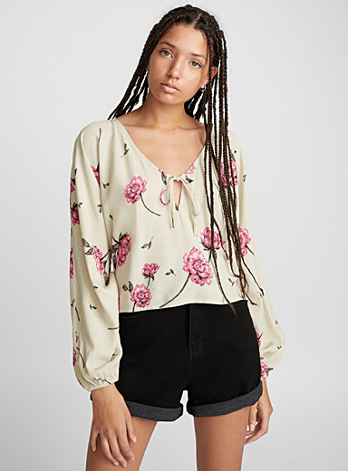 Pink flower peasant blouse