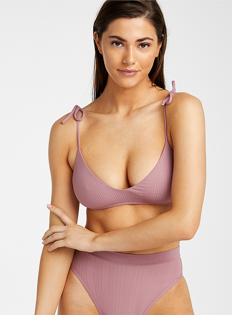 L*Space Pink Smoky pink ribbed bralette for women