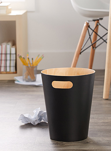 Matte black wood wastebasket
