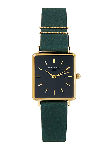 Rosefield Green Leather square watch for women