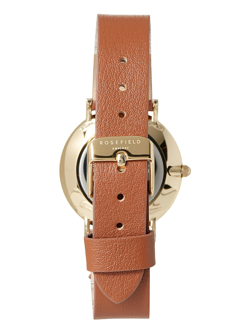 Rosefield Lime Green West Village leather watch for women