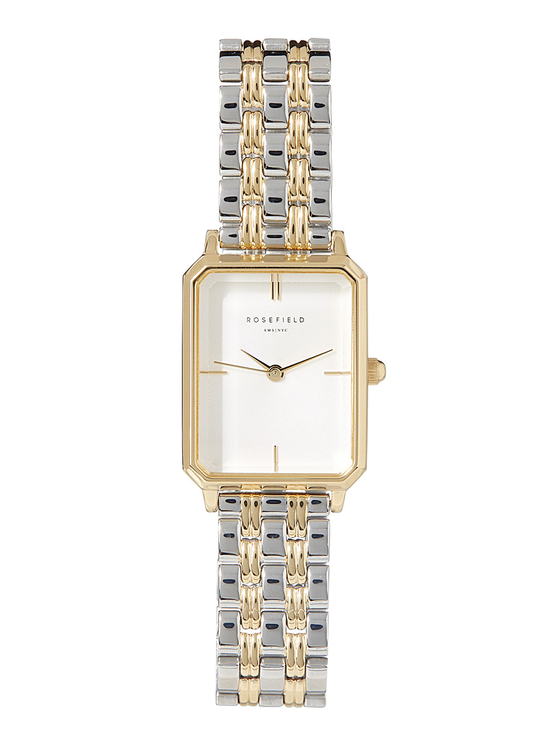 Rosefield Silver Sunray two-tone watch for women