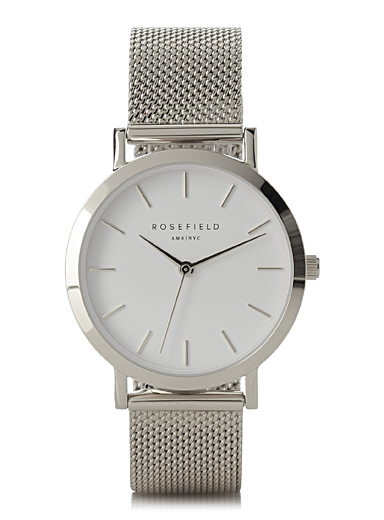 Rosefield Silver Tribeca mesh watch for women