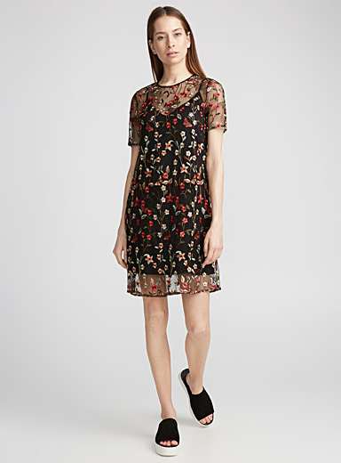 Wild flower embroidery tulle dress