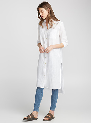 Pure linen shirt tunic