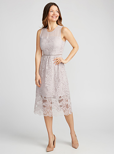 Seashell lace flared dress