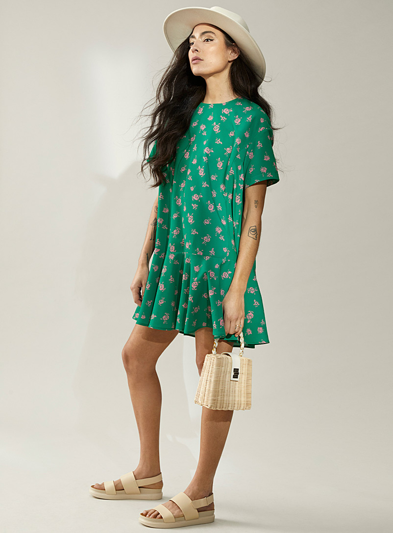 Icône Patterned Green Ruffle-trim crepe dress for women