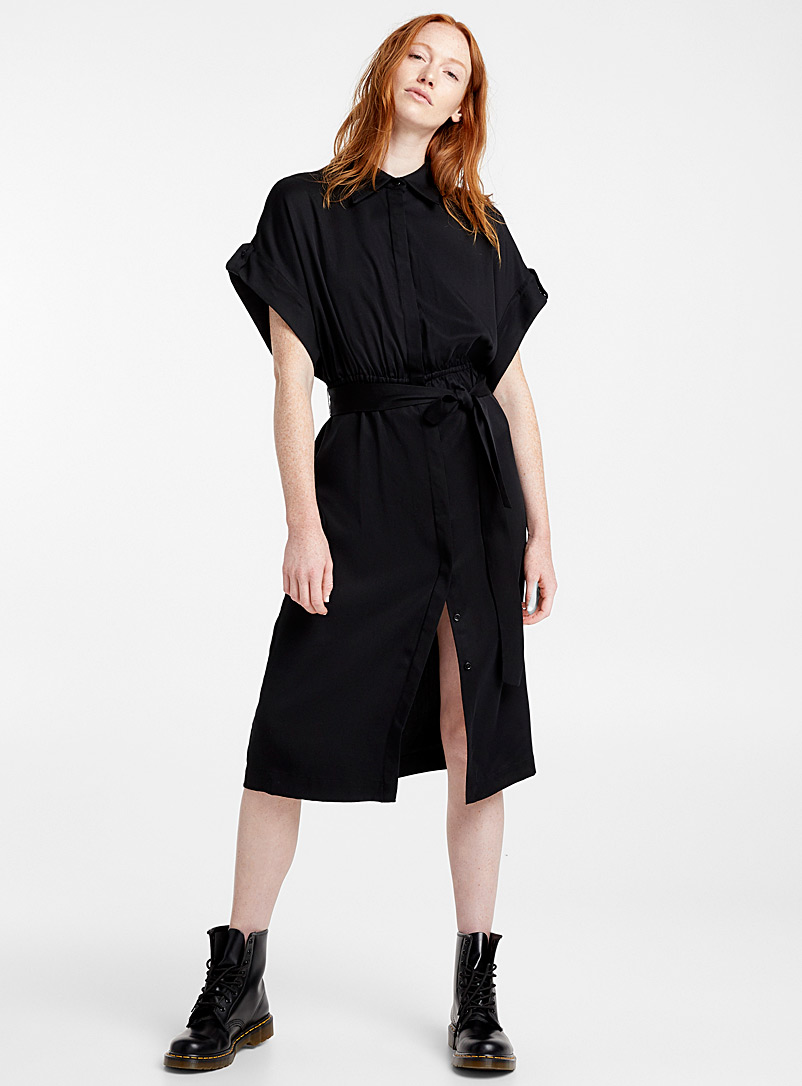 Elastic waist Tencel dress - Fit & Flare - Black