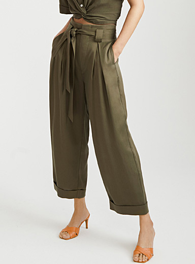 Icône Khaki TENCEL lyocell paper bag pant for women