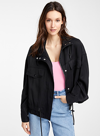 TENCEL lyocell ruched elastic trim jacket