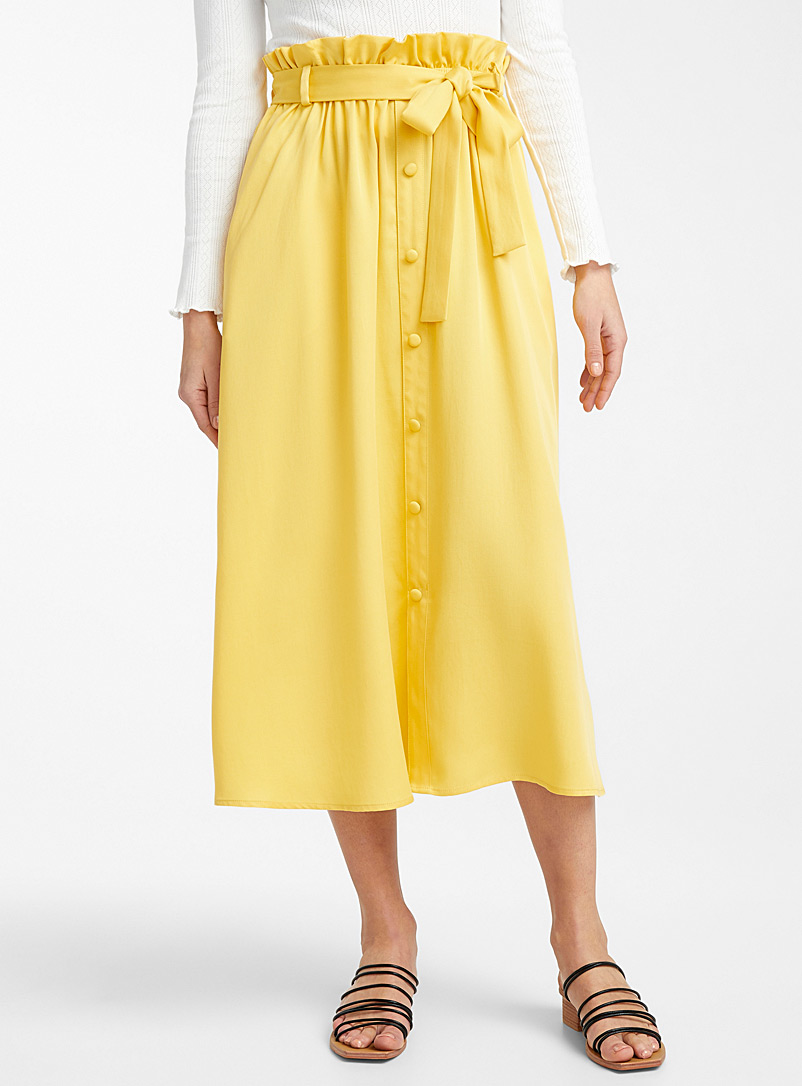 Ic?ne Golden Yellow Lyocell buttoned skirt for women