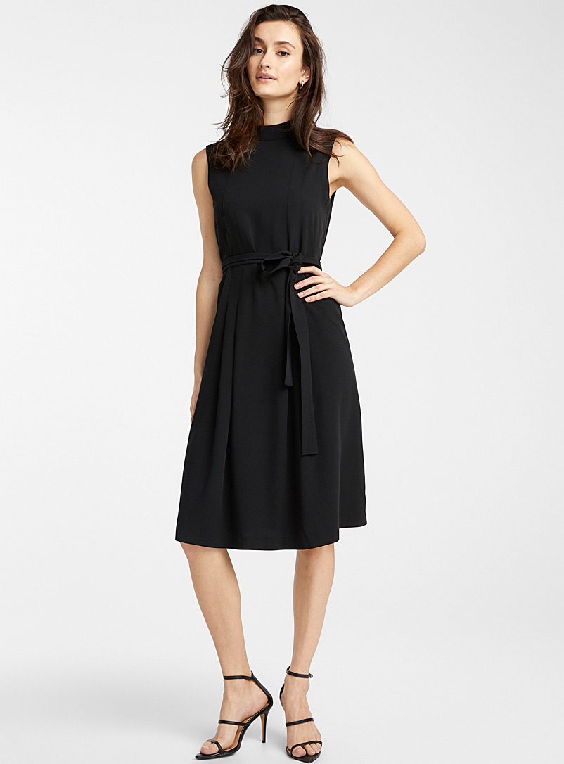 Icône Black Recycled polyester ribbon belt dress for women