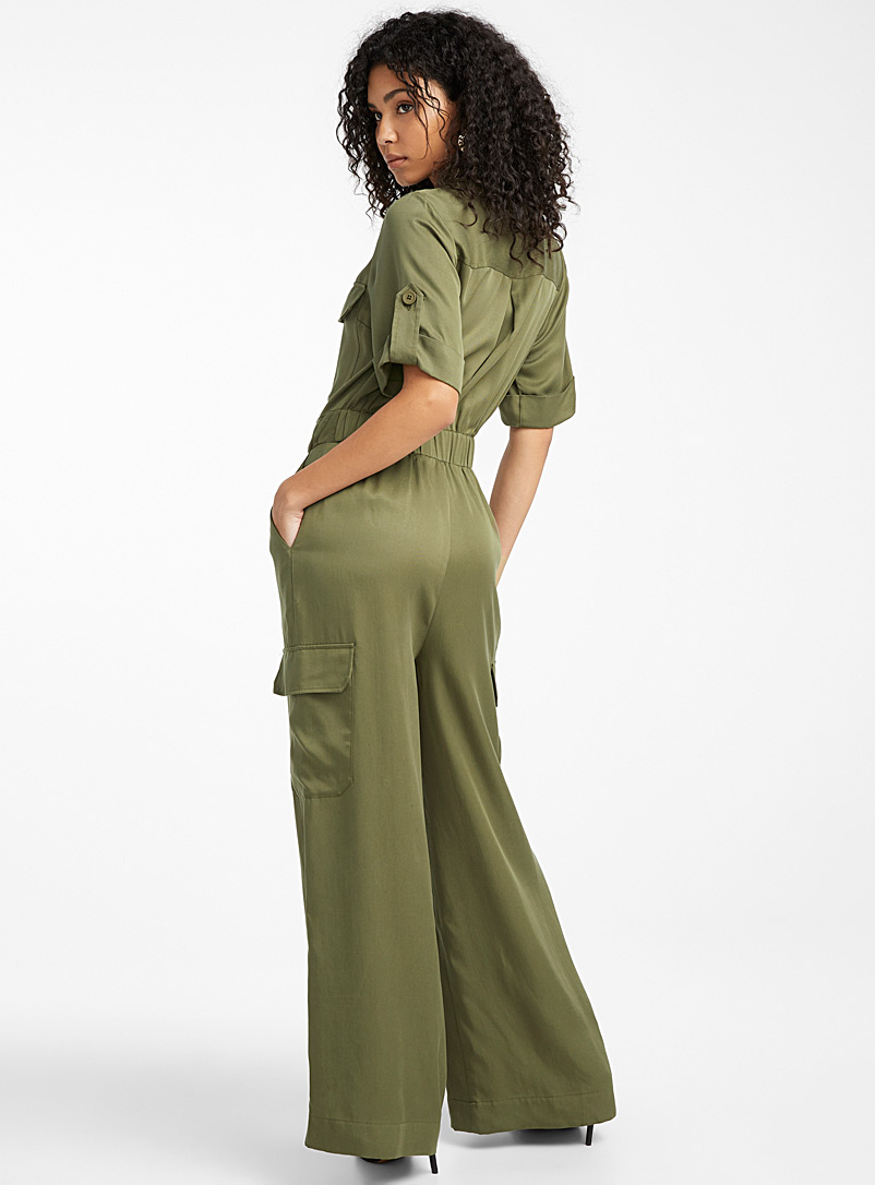 Icône Khaki TENCEL* lyocell safari jumpsuit for women