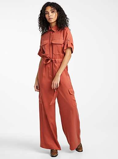 Icône Ruby Red TENCEL* Lyocell safari jumpsuit for women