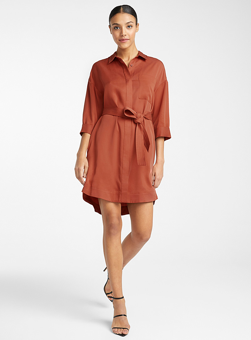 Icône Ruby Red Lyocell belted shirtdress for women