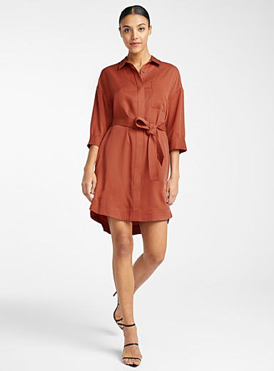 Icône Ruby Red TENCEL lyocell belted shirtdress for women