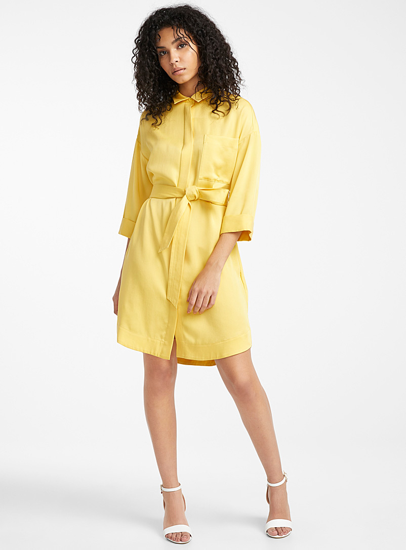 Icône Golden Yellow Lyocell belted shirtdress for women