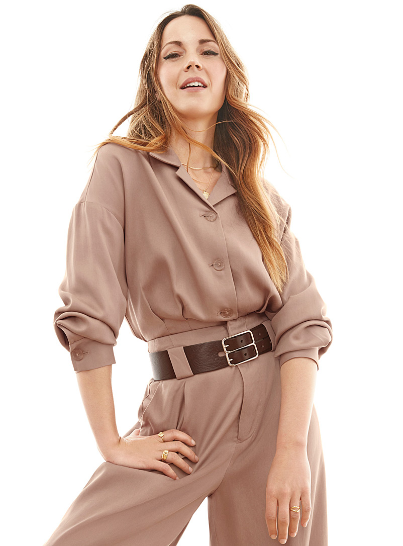 Icône Light Brown Eco-friendly lyocell shacket for women