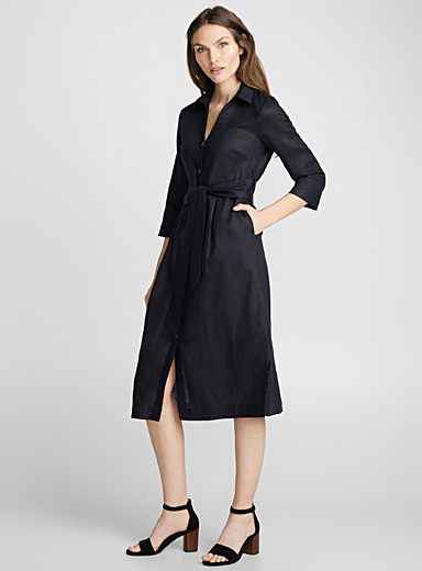 Pure linen midi shirtdress