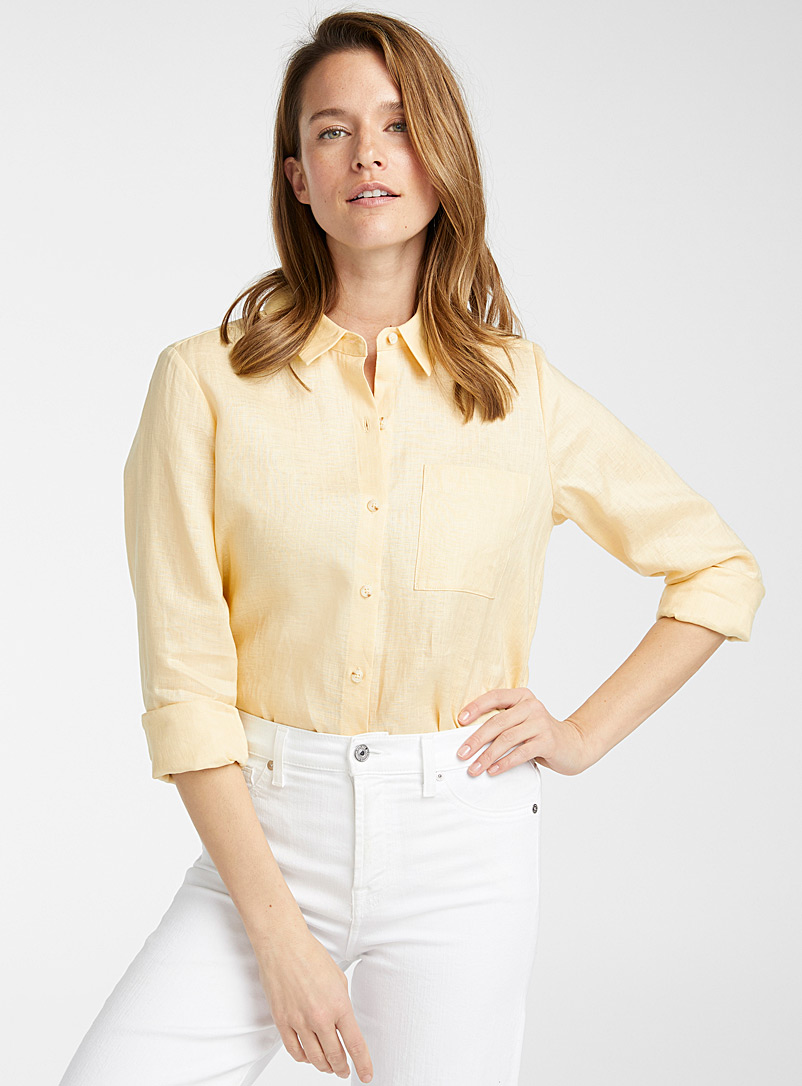 Contemporaine Light Yellow Silky linen loose shirt for women