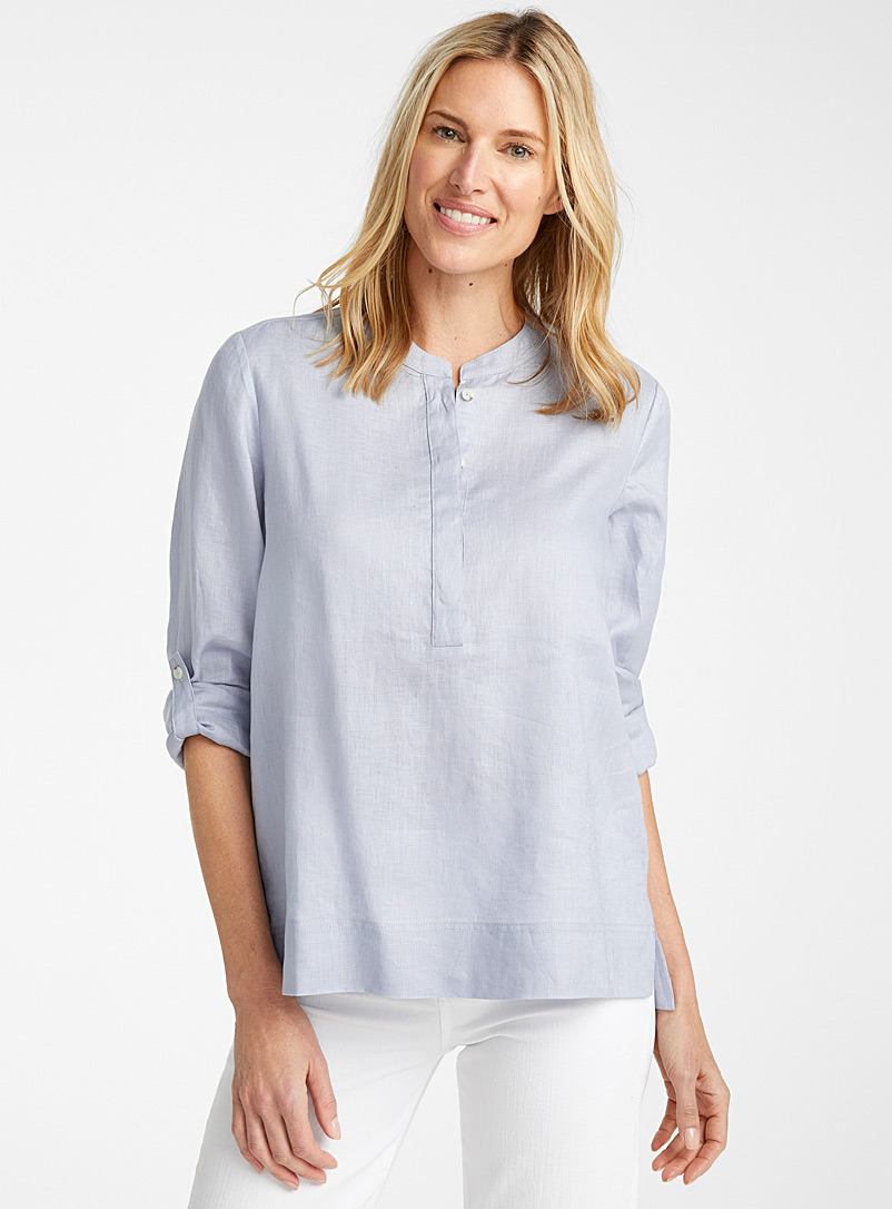 Contemporaine Baby Blue Silky linen split-neck blouse for women