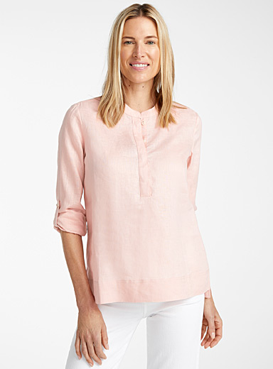 Silky linen split-neck blouse