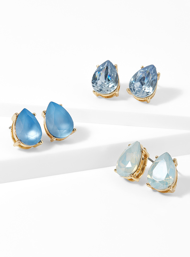 Crystal teardrop earrings  Set of 3 - Earrings - Blue