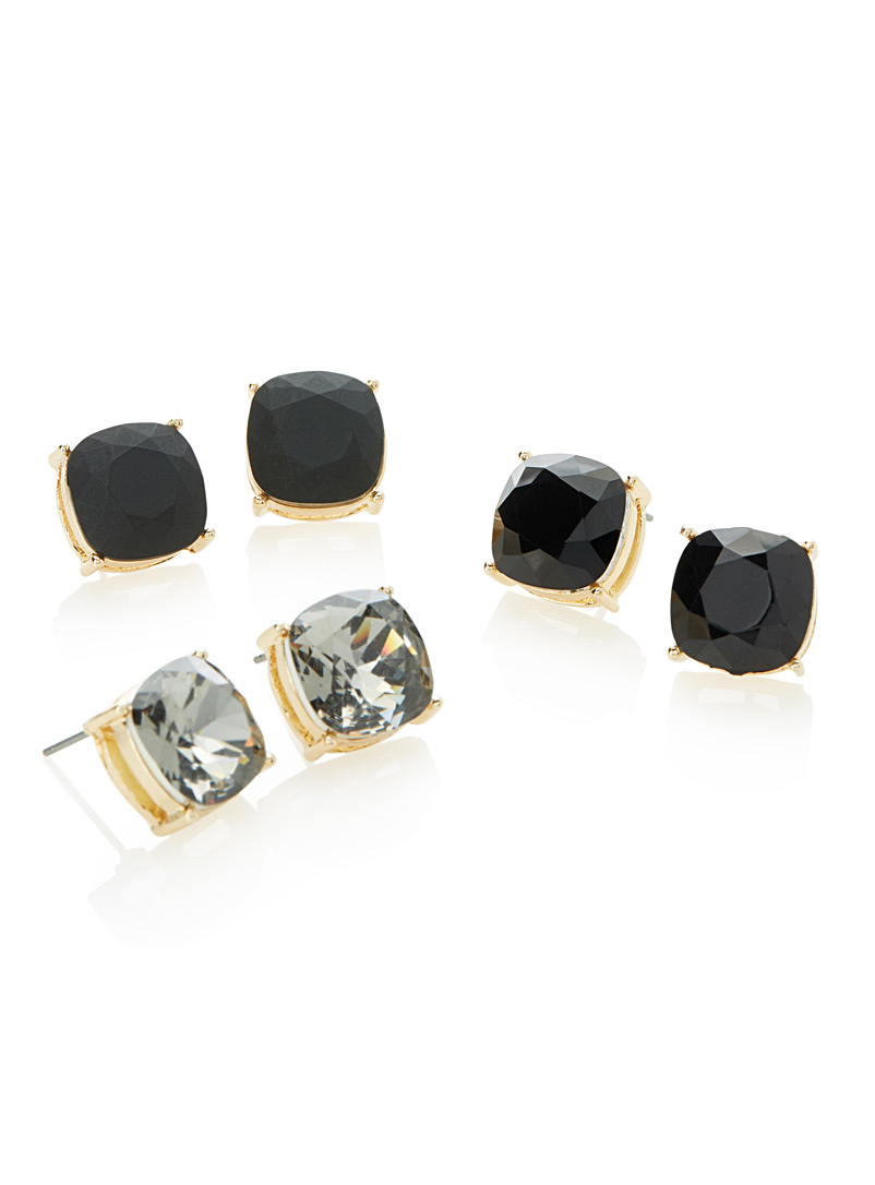 Square crystal earrings  Set of 3 - Earrings - Patterned Black