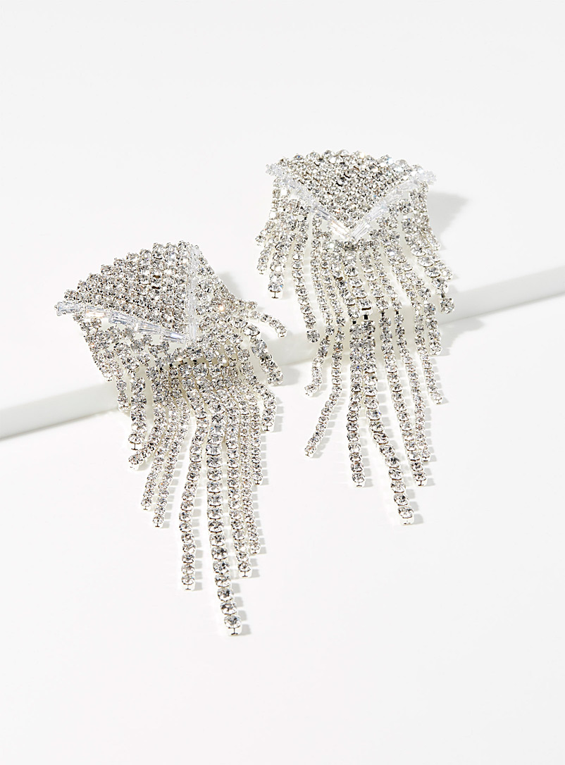 Shimmery cascading earrings - Earrings - Silver