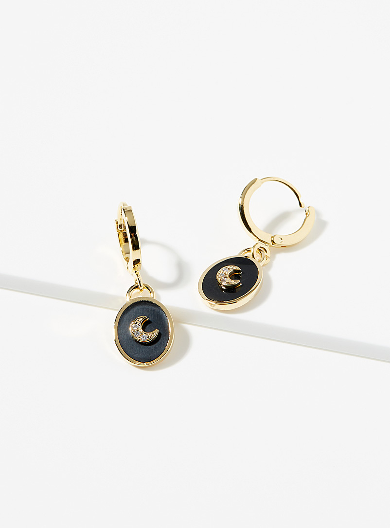Simons Assorti Gold Dark moon hoops for women