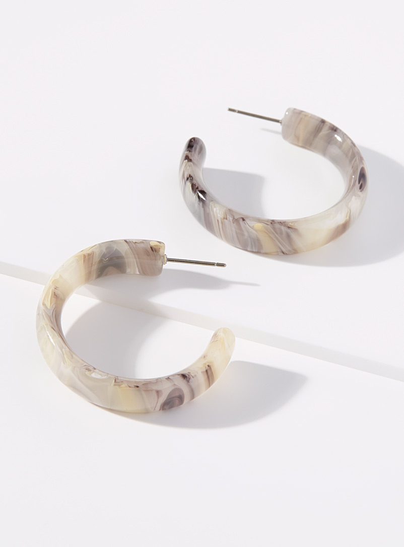Simons Silver Large marbled hoops for women